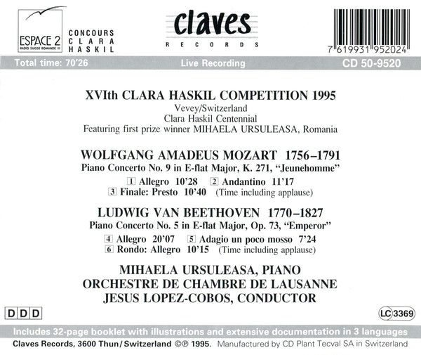 (1995) XVIth Clara Haskil Competition 1995 (Live Recording) / CD 9520 - Claves Records