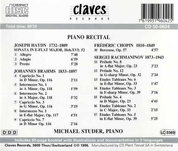 (1996) Haydn/Chopin/Brahms/Rachmaninov / CD 9604 - Claves Records