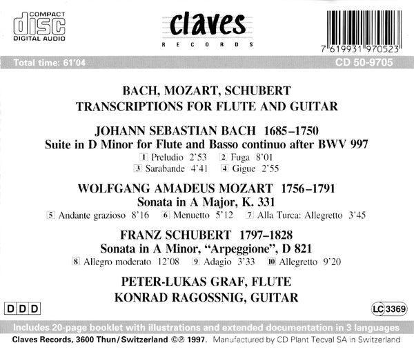 (1997) Transcriptions for Flute & Guitar / CD 9705 - Claves Records