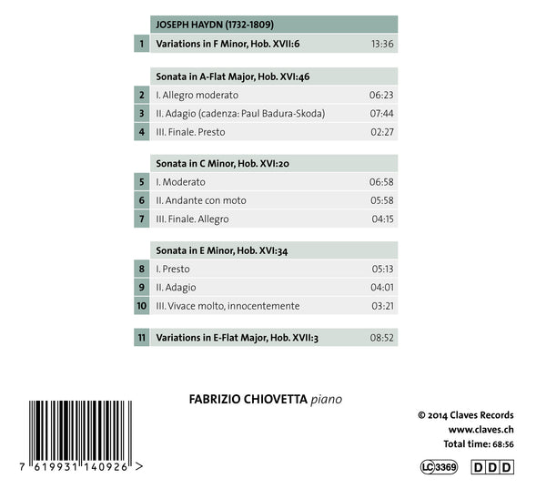 (2014) Haydn: Piano Sonatas & Variations – Fabrizio Chiovetta / CD 1409 - Claves Records