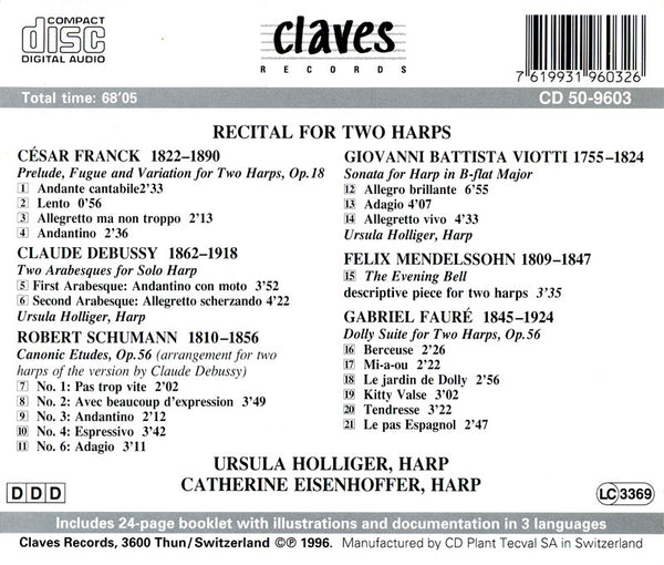 (1996) Recital For Two Harps / CD 9603 - Claves Records