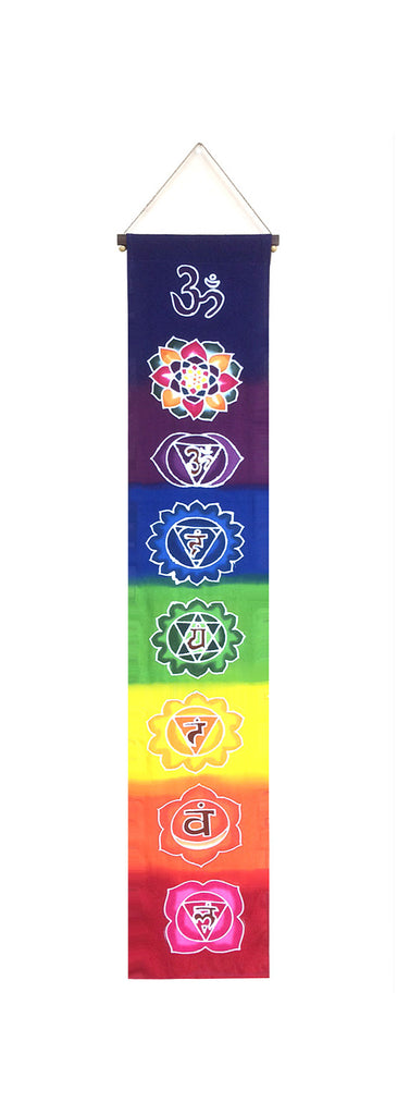 Hand-painted Batik All Chakra Rainbow Banner (Sml)