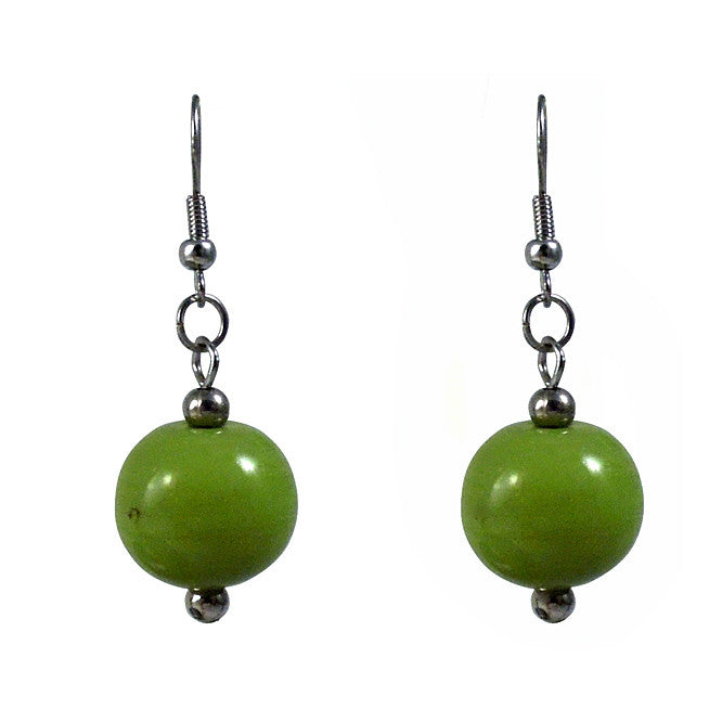 Green Globe Earrings