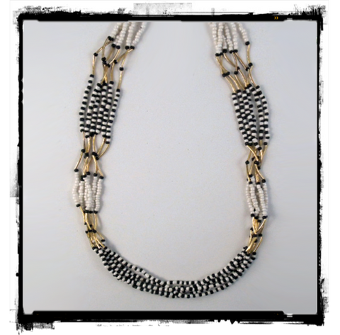 Pop-art Nuveau Necklace Black and White