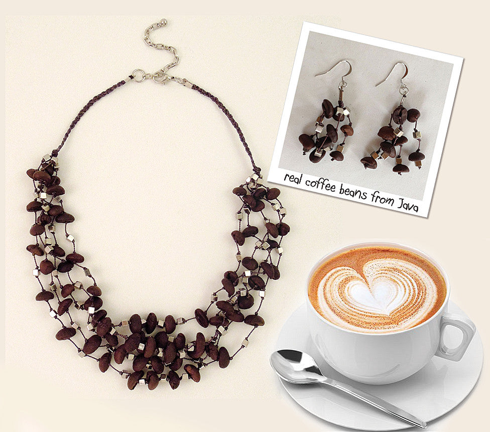 Real Java Coffee Bean Necklace