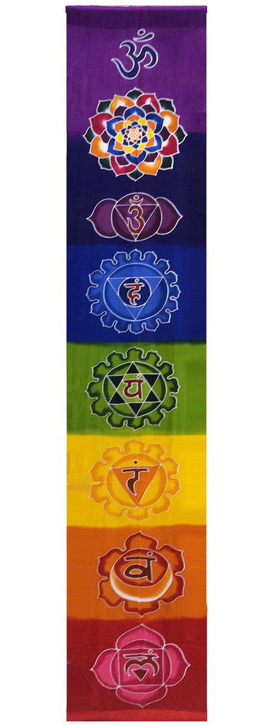 Hand-painted Batik All Chakra Rainbow Banner
