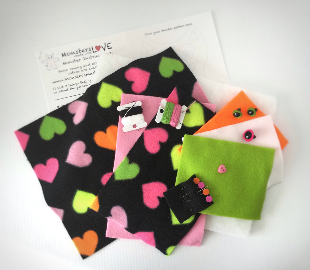 It's Sew Easy to Create Your Own Monster Kit -  Neon Hearts