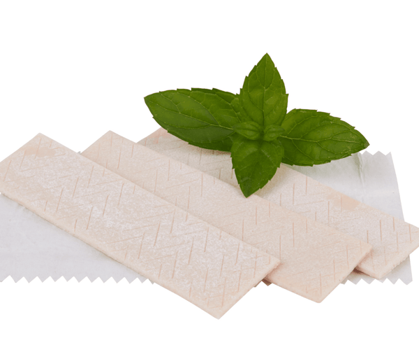 chewing gum with a leaf of spearmint