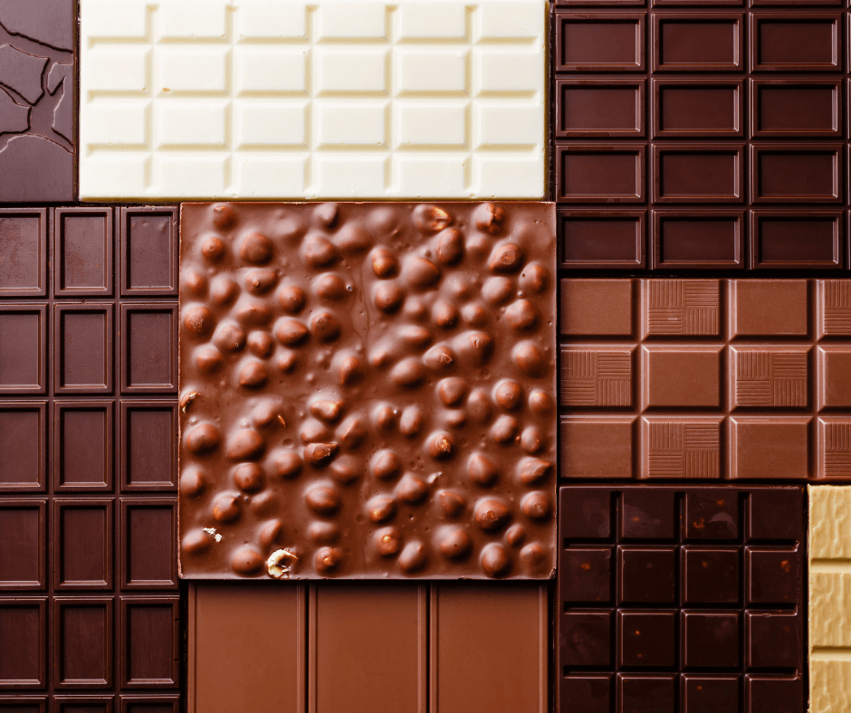 different colours chocolate bars