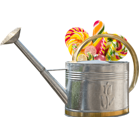 watering can with candies