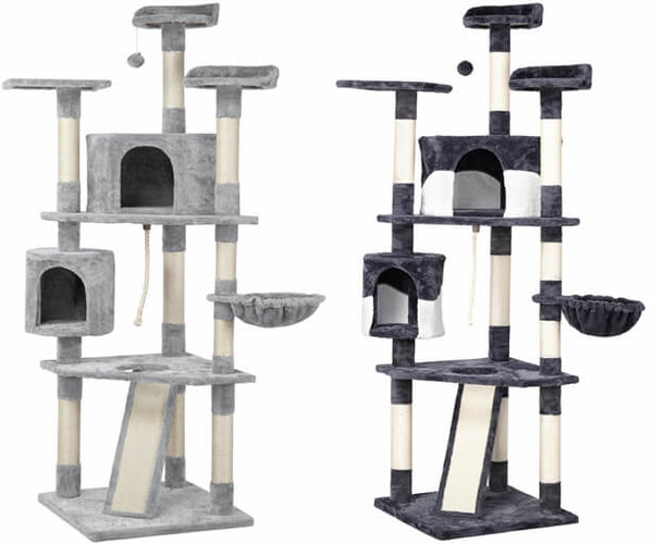 79''H Large Cat Tree w/2 Condos, Basket, Ramp