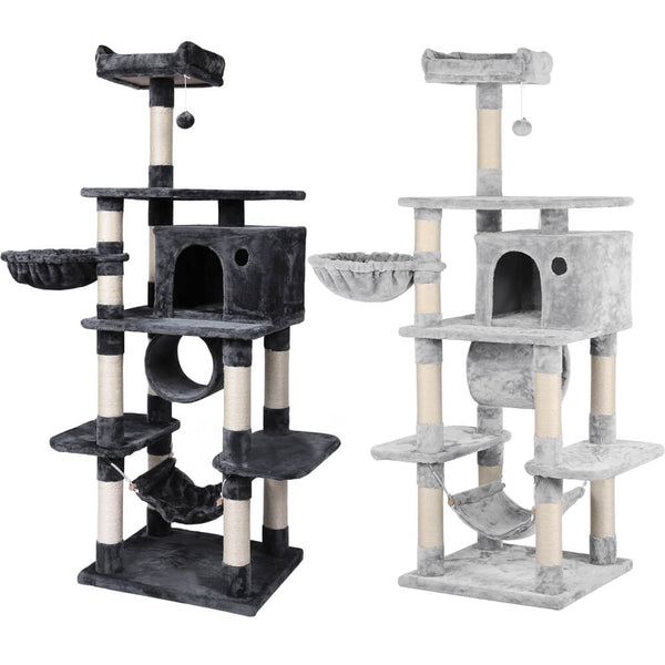 "69.5"" H Cat Tree w/Condo, Basket, Tunnel, Hammock"