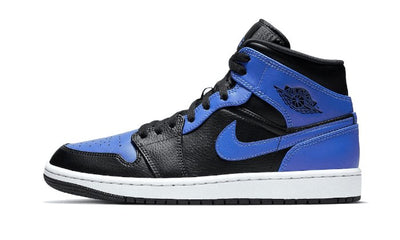 Baskets Air Jordan 1 Mid Black Royal Tumbled Leather Air Jordan Kikikickz