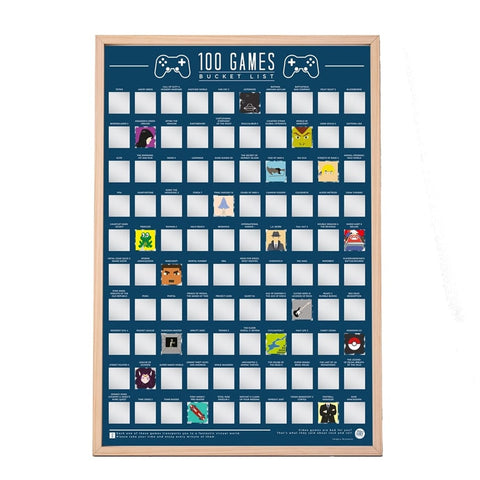 100 Video Games Scratch Poster