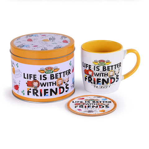 Friends Life is Better Mug and Coaster Gift Tin