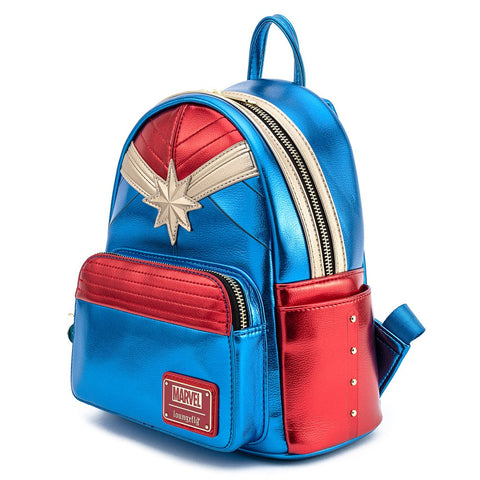Loungefly X Marvel Classic Captain Marvel Metallic Mini Backpack