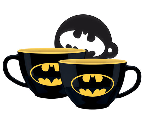 Batman Logo Cappuccino Coffee Mug with Stencil