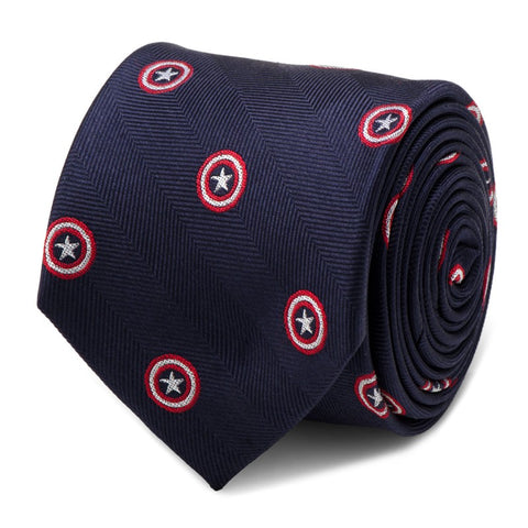 Captain America Navy Silk Tie