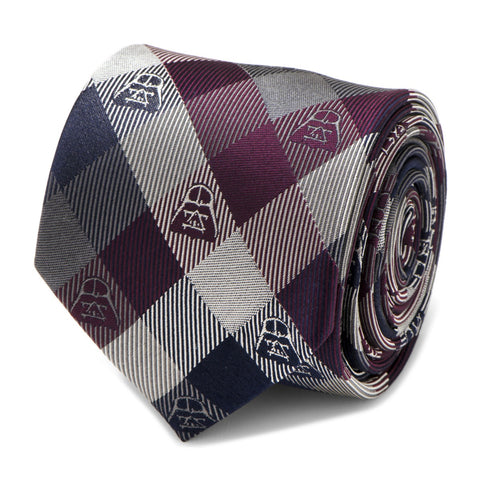 Star Wars Darth Vader Plum Plaid Silk Tie
