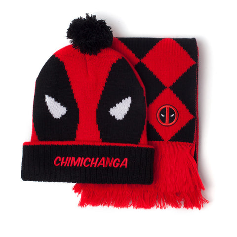 Deadpool Bobble Hat and Scarf Set