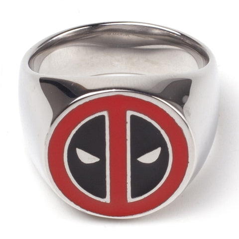 Marvel Deadpool Mask Logo Metal Signet Ring