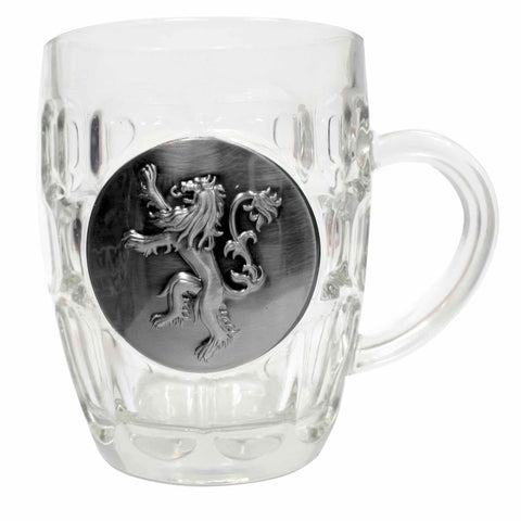 Game of Thrones House Lannister Glass Tankard with Metal Sigil