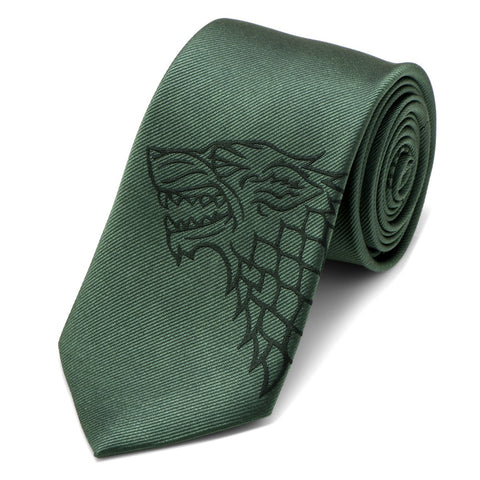 Game of Thrones House Stark Green Direwolf Silk Tie