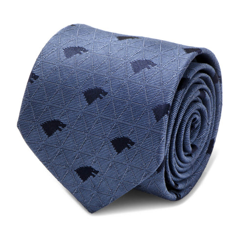 Game of Thrones House Stark Sigil & Sword Blue Silk Tie