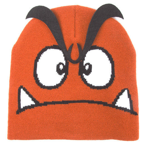 Super Mario Goomba Beanie Hat with 3D Eyebrows