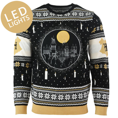 Harry Potter Hogwarts Castle LED Knitted Christmas Jumper / Sweater
