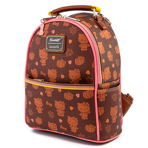 Loungefly x Hello Kitty Pumpkin Spice Print Mini Convertible Backpack