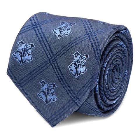 Harry Potter Hogwarts Crest Blue Plaid Silk Tie