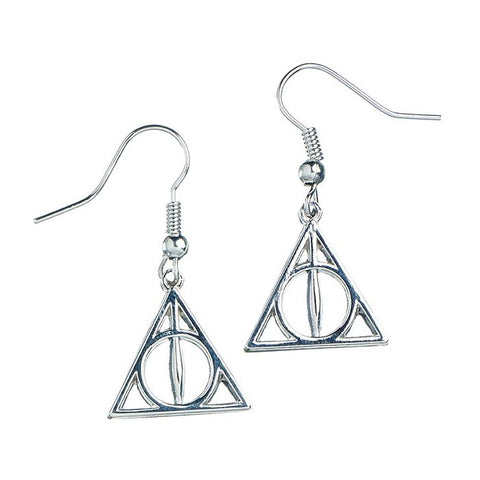 Harry Potter Deathly Hallows Sterling Silver Drop Earrings