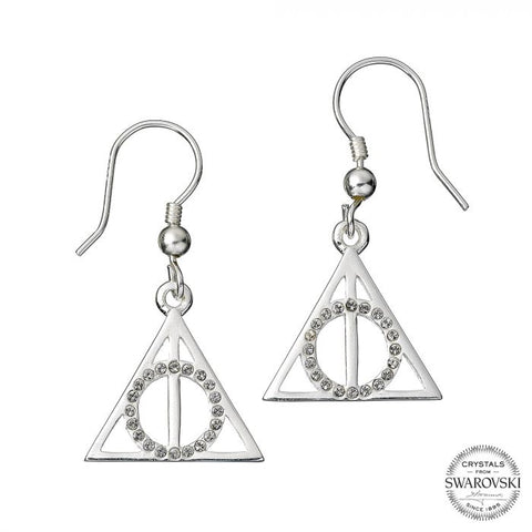 Harry Potter Deathly Hallows Sterling Silver Earrings with Swarovski Crystals