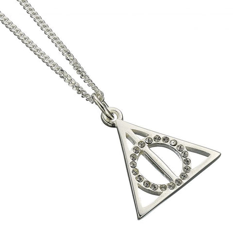Harry Potter Sterling Silver Deathly Hallows Necklace with Swarovski Crystals