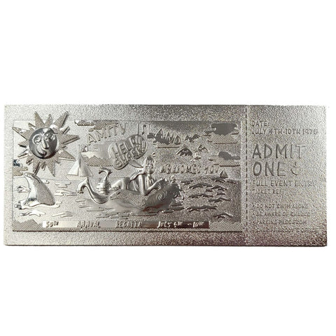 Jaws Amity Island 50th Annual Regatta Silver Plated Limited Edition Ticket