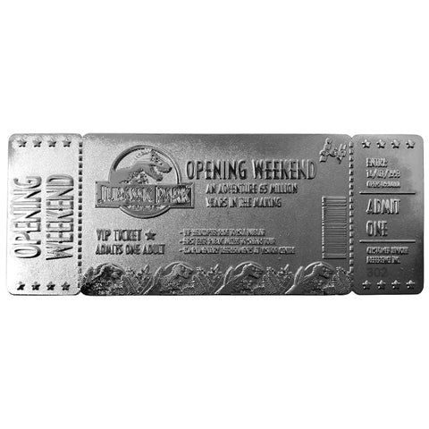 Jurassic Park Silver Plated Opening Weekend Ticket