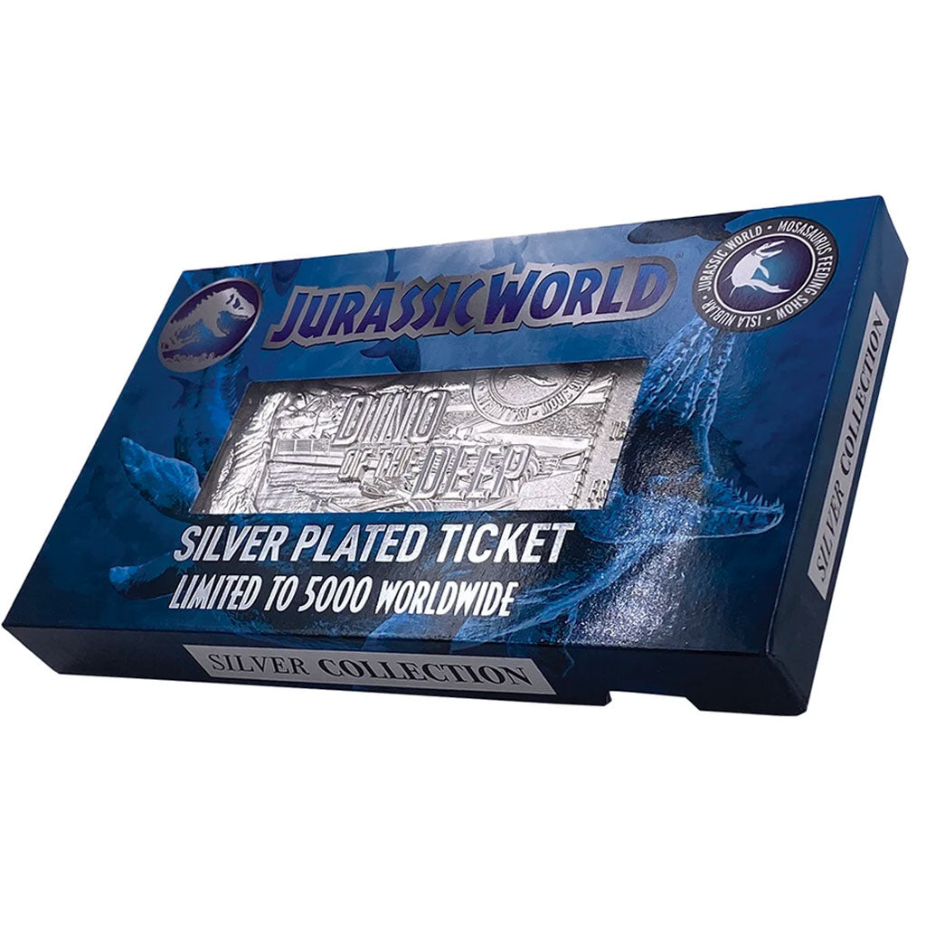 Jurassic World Mosasaurus Silver Plated Collectible Ticket
