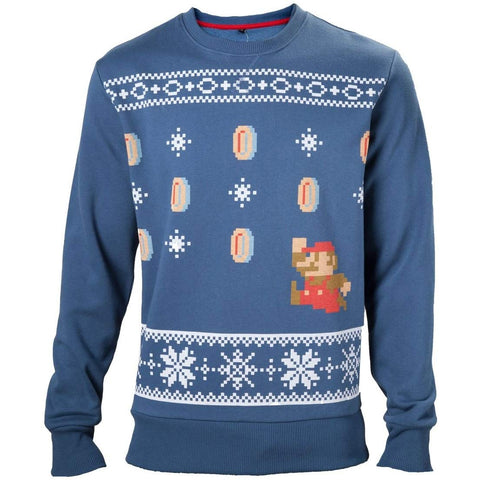 Nintendo Super Mario Bros Classic Blue Christmas Sweater
