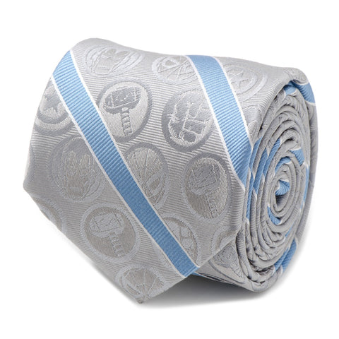Marvel The Avengers Character Icon Grey and Blue Silk Tie