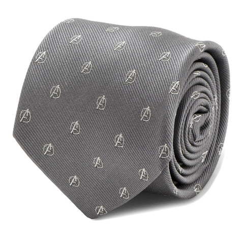 Marvel Avengers Logo Icon Grey Silk Tie