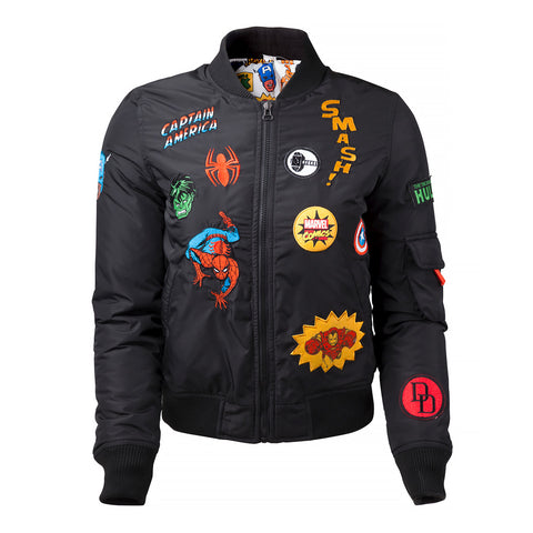 Marvel Girl's Black Bomber Jacket with Patches
