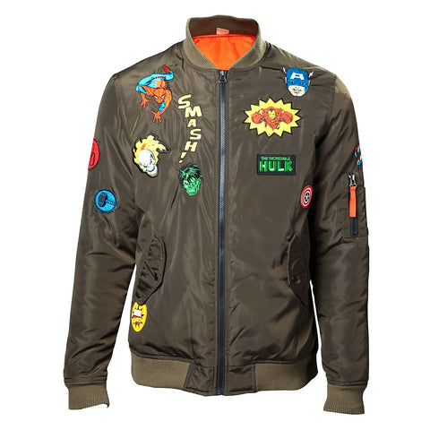 Marvel Men's Olive Bomber Jacket with Patches