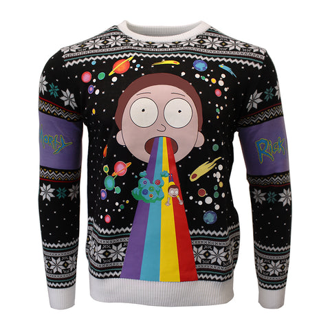 Rick and Morty Rainbow Knitted Christmas Jumper / Sweater