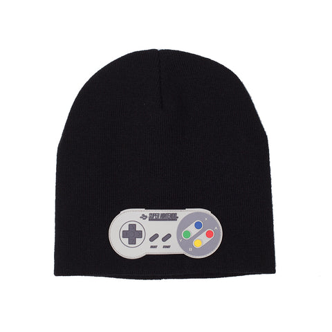 Nintendo Black SNES Beanie Hat with Controller Patch