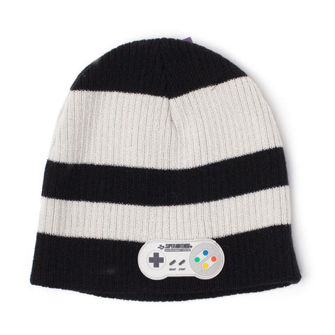Nintendo SNES Striped Beanie Hat with Controller Patch