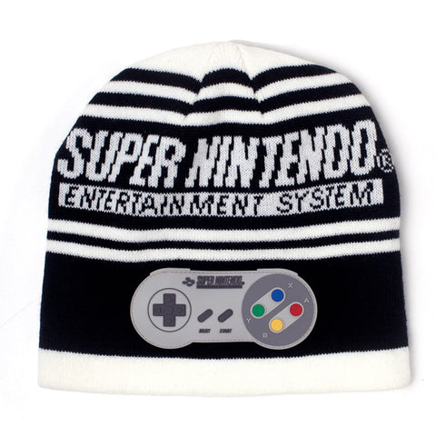 Nintendo Black and White SNES Beanie Hat with Controller Patch