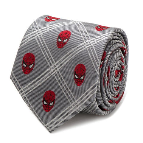 Spider-Man Grey Plaid Silk Tie