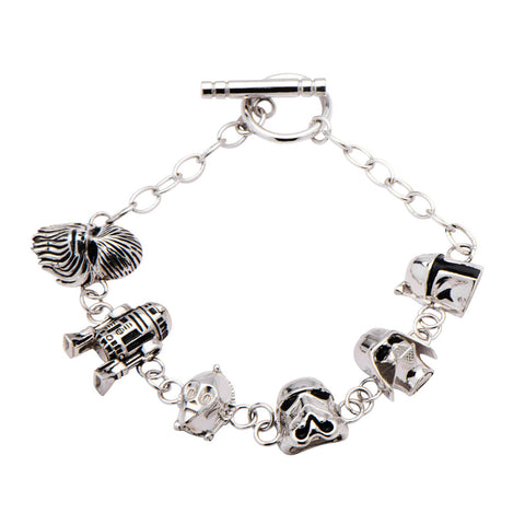 Star Wars Character Heads Sterling Silver Toggle Clasp Bracelet