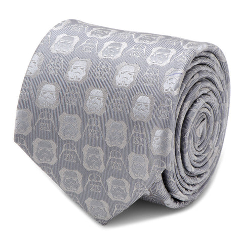 Star Wars Darth Vader and Stormtrooper Grey Silk Tie